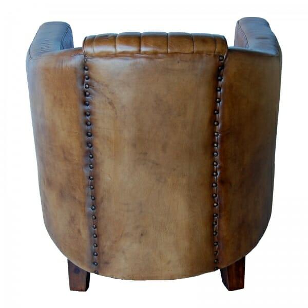 Fauteuil bruin vintage leer industrieel achterkant