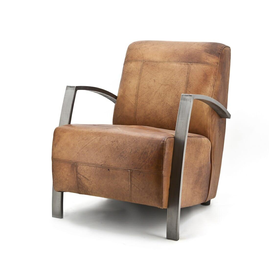 Industri le fauteuil cognac leer for Industrieel fauteuil
