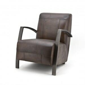 Industriële-fauteuil-leder-donkerbruin