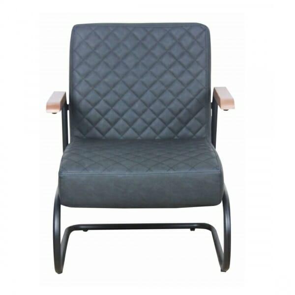 Industriële-stoere-fauteuil-antraciet-voorzijde