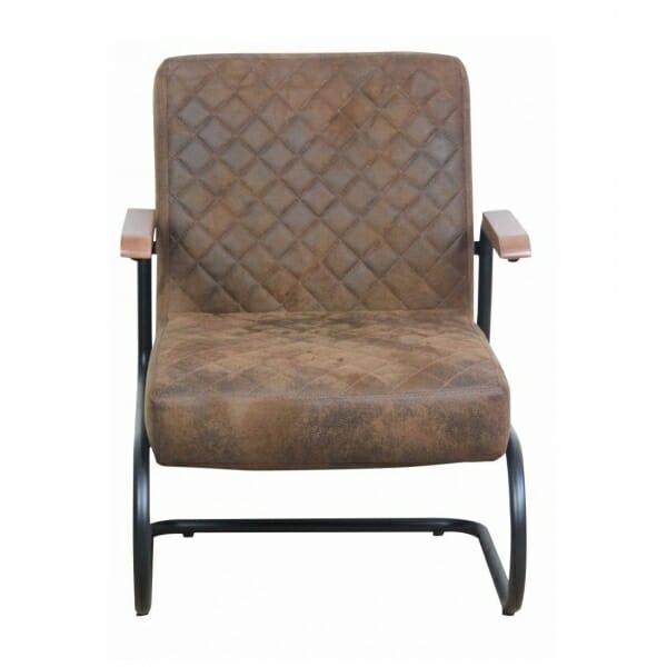 Industriële-stoere-fauteuil-bruin-vintage-voorzijde