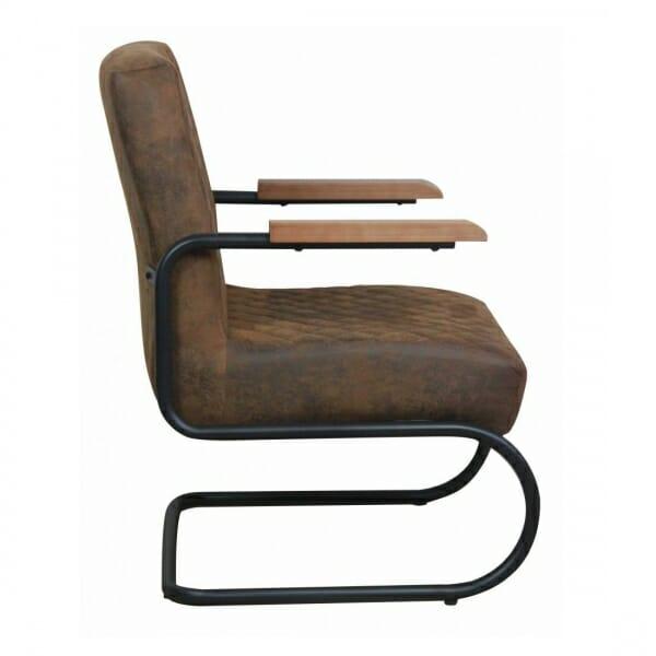 Industriële-stoere-fauteuil-bruin-vintage-zijkant