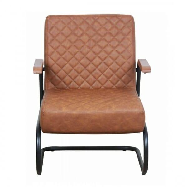 Industriële-stoere-fauteuil-cognac-voorzijde