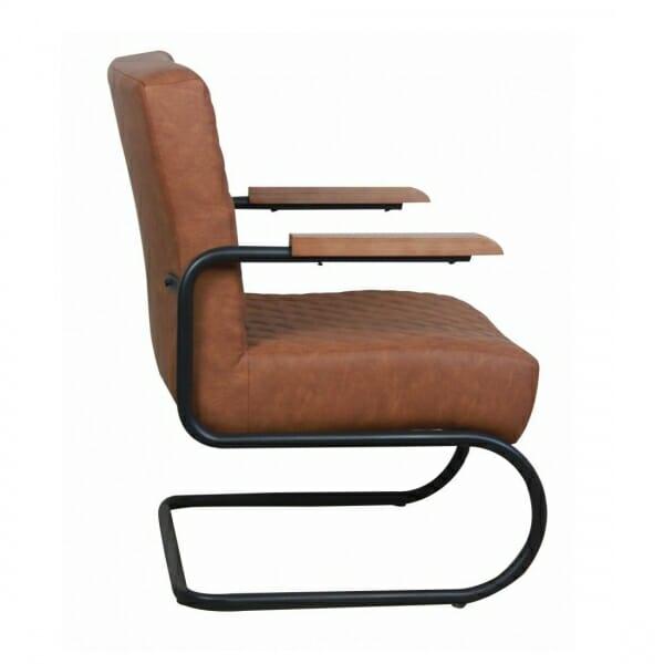 Industriële-stoere-fauteuil-cognac-zijkant