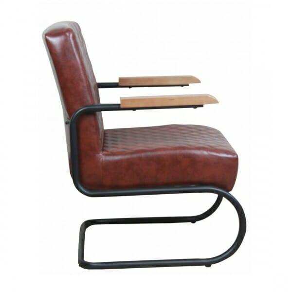 Industriële-stoere-fauteuil-vintage-bruin-zijkant