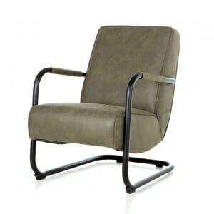 Industrieel-fauteuil-stof-groen