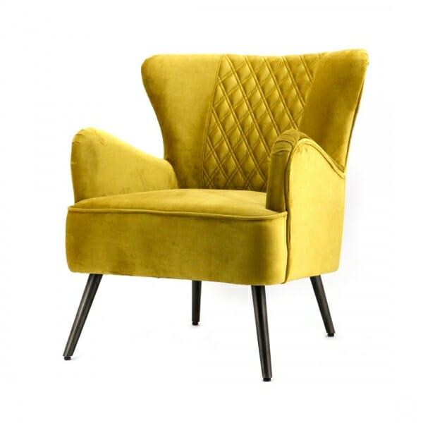Landelijke-fauteuil-geel-velours