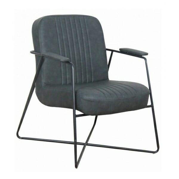 Vintage-fauteuil-metalen-onderstel-antraciet
