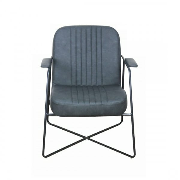 Vintage-fauteuil-metalen-onderstel-antraciet-voorzijde