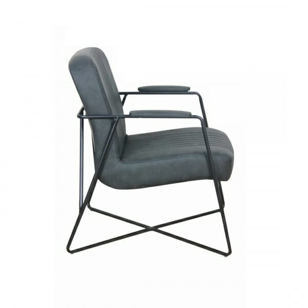 Vintage-fauteuil-metalen-onderstel-antraciet-zijkant