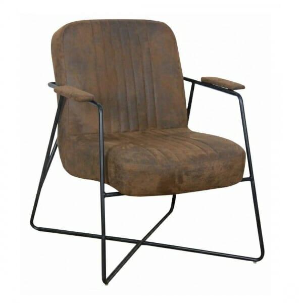 Vintage fauteuil metalen onderstel bruin