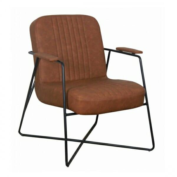 Vintage-fauteuil-metalen-onderstel-cognac
