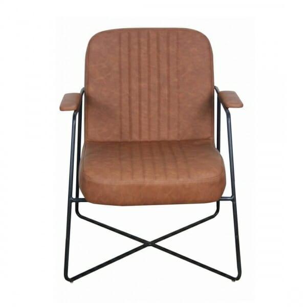 Vintage-fauteuil-metalen-onderstel-cognac-voorzijde